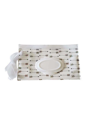 Wet Wipe Wristlet and Car Carry Pouch White with Arrows