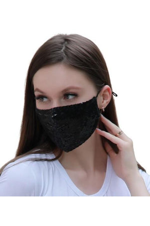 Fashion Sparkly Face Mask + Filters Black