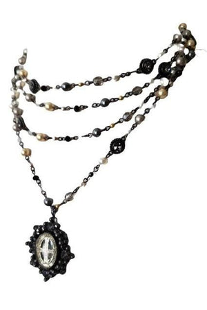 VSA Designs Gunmetal Oval San Benito Lux Magdalena Mixed Pearl Necklace-Jewelry-VSA-Madison San Diego