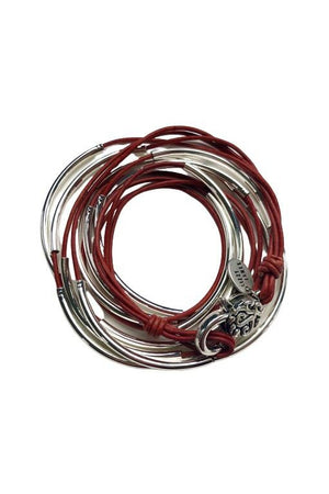 Lizzy James Classic Natural Red Wrap Bracelet w/Silver