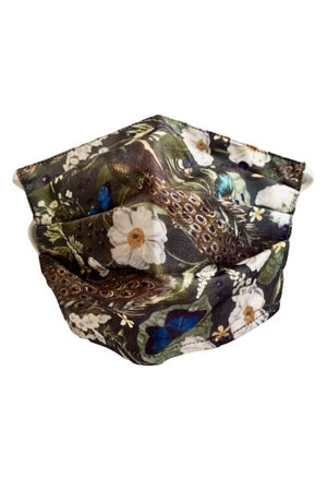 Peacock Floral Fancy Pleated  Face Mask with Filters + Carry Pouch