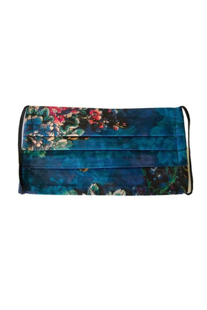 Johnny Was Fashion Face Mask with Filter Deep Teal Floral