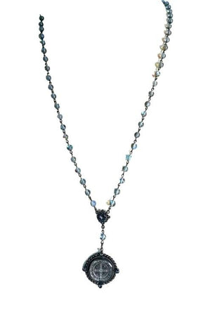 VSA Designs Silver San Benito Rosary Necklace-Jewelry-VSA-Madison San Diego