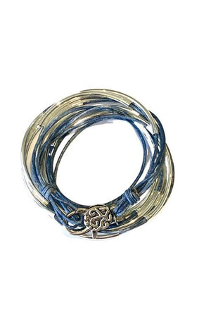 Lizzy James Classic Distressed Blue Wrap Bracelet w/Silver