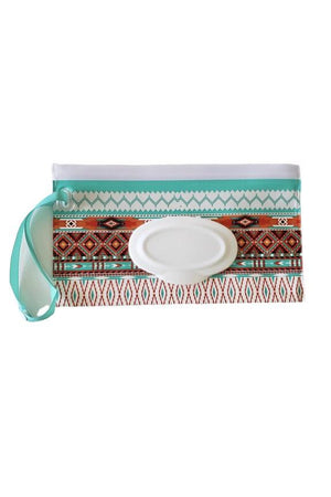 Wet Wipe Wristlet and Car Carry Pouch Aztec Print