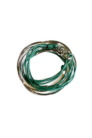 Lizzy James Classic Metallic Teal Wrap Bracelet w/Silver