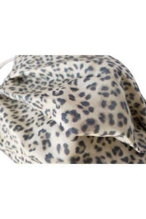Cream Leopard Fancy Pleated  Face Mask with Filters + Carry Pouch