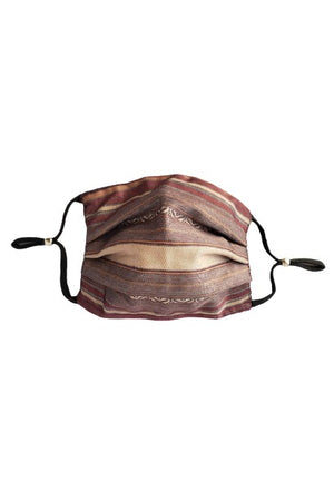 Lauren Striped Fancy Pleated  Face Mask with Filters + Carry Pouch