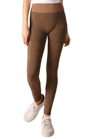 Legging Brown Houndstooth Plaid