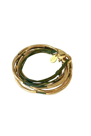 Lizzy James Classic Natural Forest Green Wrap Bracelet w/Gold