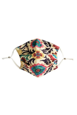 Spanish Flower Fancy Pleated  Face Mask with Filters + Carry Pouch