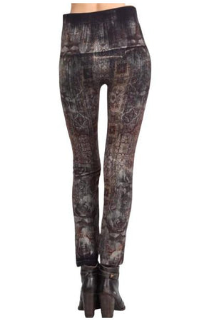 Indigo Rose and Abstract Print Legging