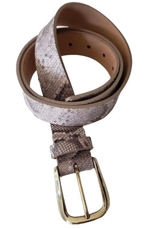 Python Leather Belt with Gold Buckle