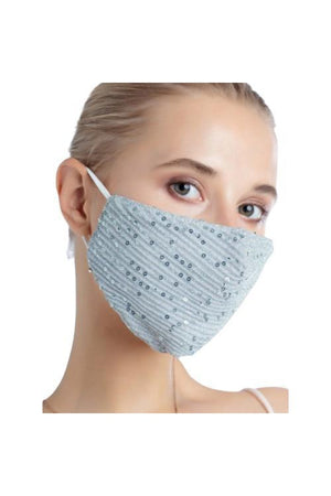 Fashion Bling Face Mask + Filters Sky Blue