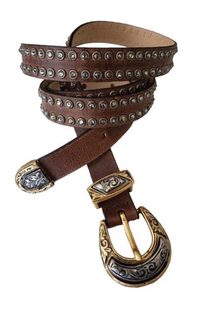 Studded Brown Leather Belt with Antique Gold/Silver Buckle