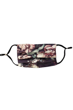 Vintage Floral Black Fancy Pleated  Face Mask with Filters + Carry Pouch