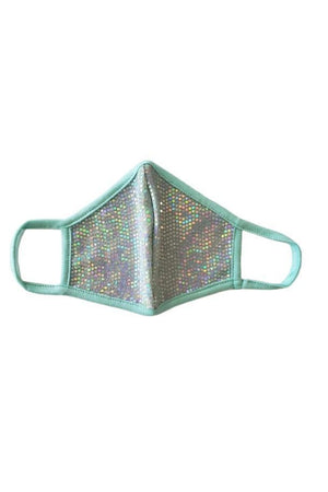 Fashion Sparkly Mermaid Face Mask Mint Green