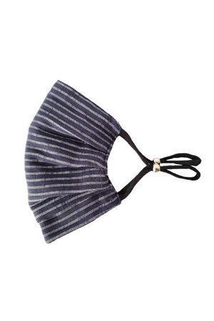 Black to navy stripe Reversible Fancy Pleated  Face Mask with Filters + Carry Pouch
