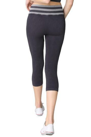 Crop Legging Vintage Black With Striped Waist