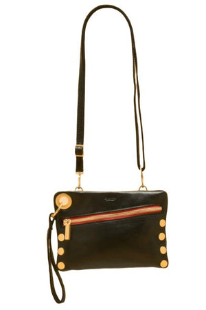 Hammitt Nash Small Black/Brushed Gold Red Zip Handbag-Handbag-Hammitt-Madison San Diego