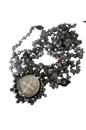 VSA Designs Gunmetal San Benito Cloister Lux 6mm Labradorite Magdalena Necklace-Jewelry-VSA-Madison San Diego