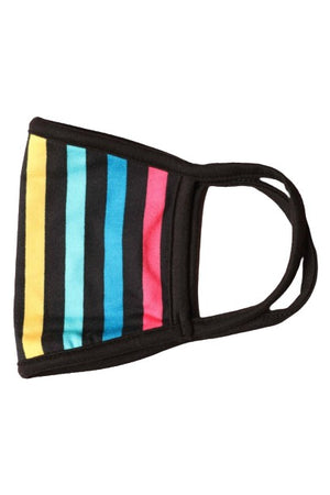 Fashion Face Mask Black with Rainbow Stripes