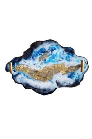 Rosy Brown Custom Agate Style Serving Tray With San Diego Beach Sand - Blue Beach