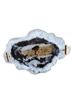 Dim Gray Custom Agate Style Serving Tray With San Diego Beach Sand - White & Black Beach