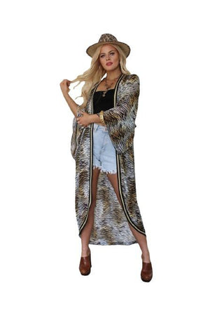 Meet Me in Miami Gold Metallic Tiger Kimono