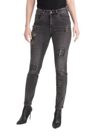 Joseph Ribkoff Bedazzled Distressed Jeans