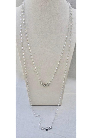 VSA Designs Silver Vivienne Crystal AB Long Wrap Necklace