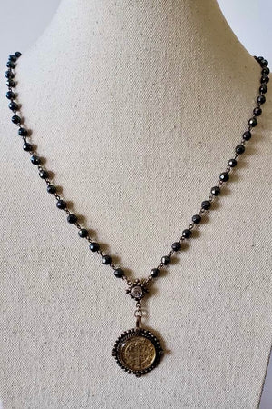 VSA Designs Exclusive Silver San Benito 6mm Rosary Necklace