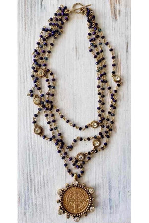 VSA Designs Gold Vivienne Purple Velvet Magdalena Necklace