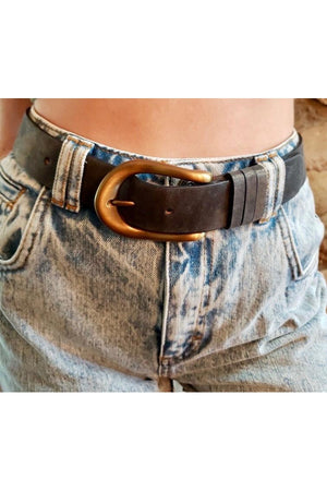 Dark Denim Metallic Leather Belt with Antique Brass Buckle