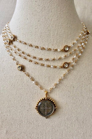 VSA Designs Gold San Benito Bicone Crystal Moonlight Magdalena Necklace