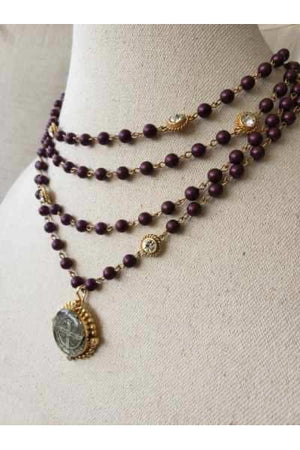 VSA Designs Gold San Benito Magdalena Necklace 6mm Elderberry 6mm Pearl, Clear Crystals