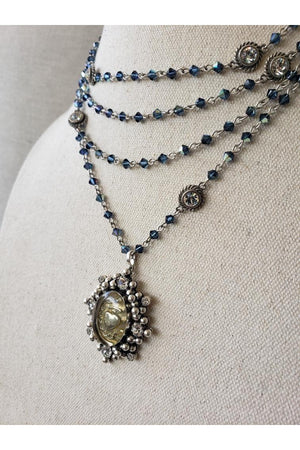VSA Designs Silver Sacred Heart Bicone Montana Blue Magdalena Necklace