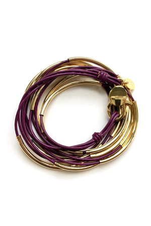 Lizzy James Classic Gloss Wine Wrap Bracelet w/Gold