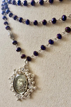 VSA Designs Silver Oval Sacred Heart 6mm Purple Velvet Magdalena Necklace