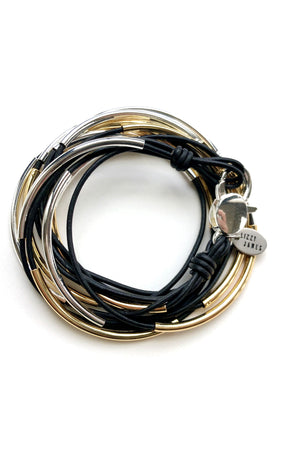 Lizzy James Classic Black Wrap Bracelet w/Silver/Gold