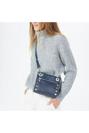 Hammitt Tony Small Navy Snake with Brushed Silver Handbag