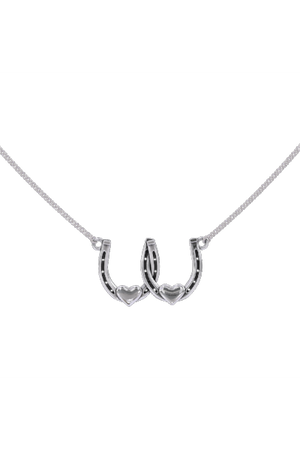 Double Horseshoe Heart Necklace-Jewelry-Three Wild Horses-.925 Sterling Silver-Three Wild Horses