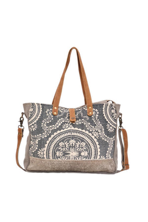 Boho Chic Canvas Large Tote Bag-Handbag-Myra Bag-Madison San Diego