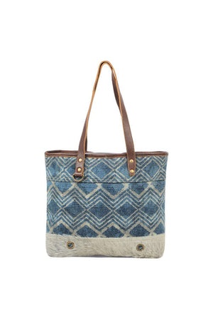Blue Pattern Design Canvas Tote Bag-Handbag-Myra Bag-Madison San Diego
