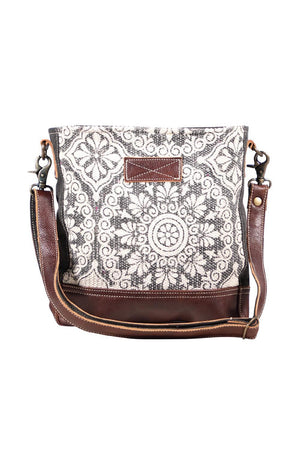 Mandala Art Canvas & Leather Shoulder Bag-Handbag-Myra Bag-Madison San Diego