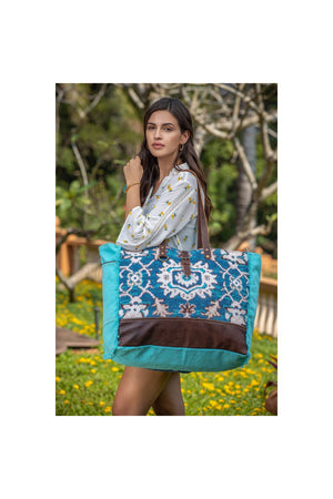 Caribbean Dream Canvas + Leather Large Tote Bag-Handbag-Myra Bag-Madison San Diego