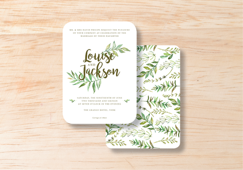 Leafy Evening Invitation - BlushWeddingsUK - 1