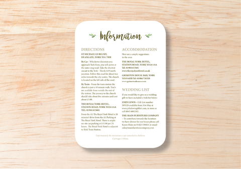 Leafy Information Card - BlushWeddingsUK - 1