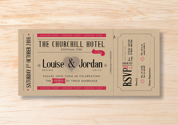 Retro Evening Invitation & RSVP Card - BlushWeddingsUK