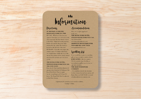 Rustic Information Card - BlushWeddingsUK